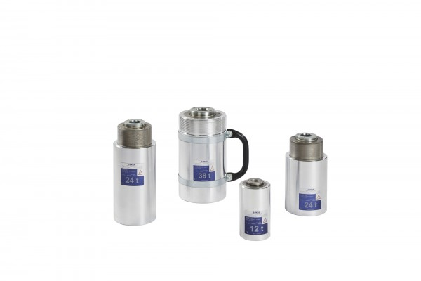 Single-acting hollow piston cylinders