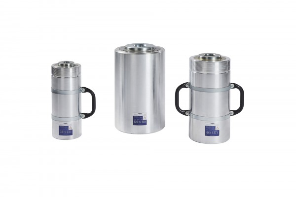 Double-acting hollow piston cylinders